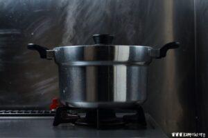 沸騰後15分加熱してから10分蒸らします。